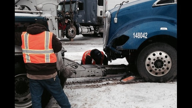 Slick Streets Keep Big Rig Towing Services Busy