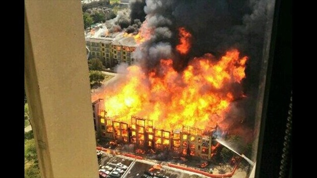 Construction Worker Escapes Fire from Top Floor of Houston Apartment Complex
