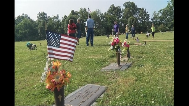 Flags Placed in Cemetery for Memorial Day Weekend