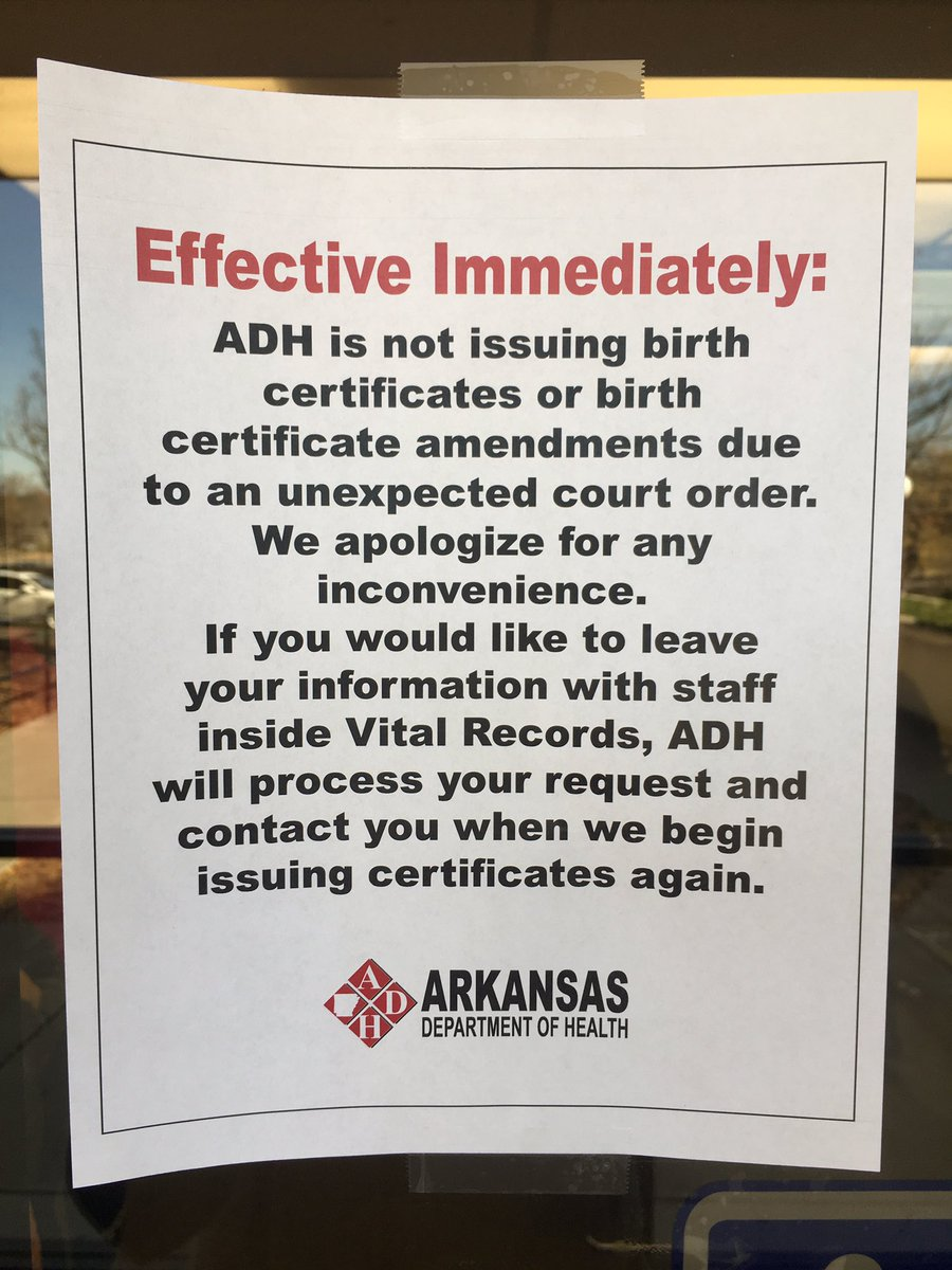 Update ar birth certificate filings resume fox16 official notice posted earlier friday at the arkansas department of health xflitez Images