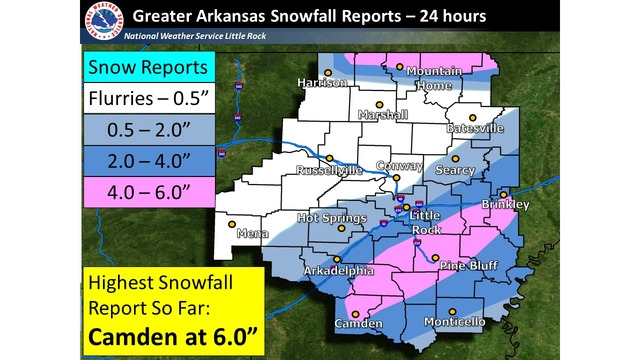 Arkansas Snow Totals from Monday-Tuesday Storm