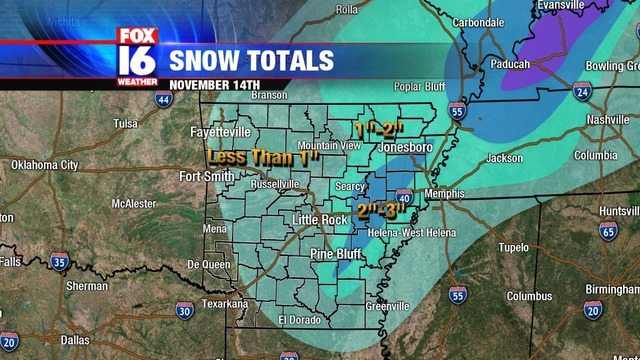 Snowfall Totals From Wednesday