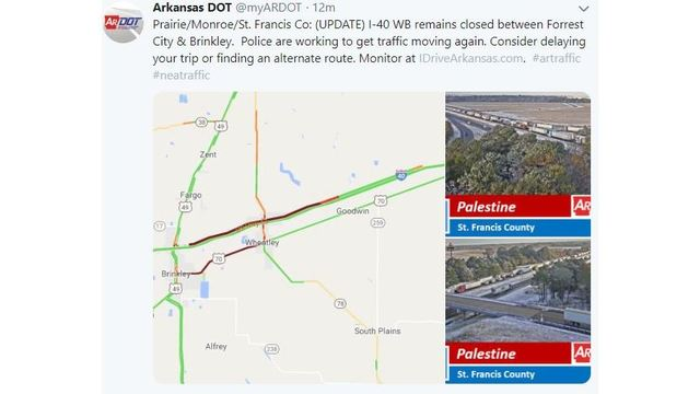 I 40 Arkansas Map.Update I 40 Westbound Traffic Resumes In Eastern Ar